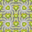 Seamless pattern of kiwi, persimmon in Heart with graphics spira — Stock Vector