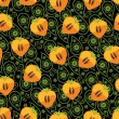 Seamless pattern of persimmon in Heart and Paisley ornament — Stock Vector