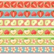 Set of seamless boarders of Strawberry,Apple,hearts and flowers — ストックベクタ