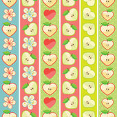 Set of seamless boarders of Apple,hearts and flowers — Stock Vector