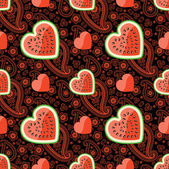 Watermelon, hearts and Paisley in seamless pattern — Cтоковый вектор