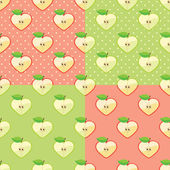 Heart of apples in seamless pattern with polka dot background — Stock Vector