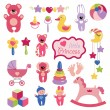 Baby toys set collection for little girl — Stock Vector #43584975