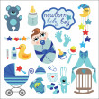 Cute elements for newborn baby boy — Stock Vector #43585033