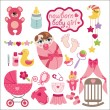 Cute elements for newborn baby girl — Stock Vector #43585037