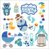 Cute elements for newborn baby boy — Stock Vector