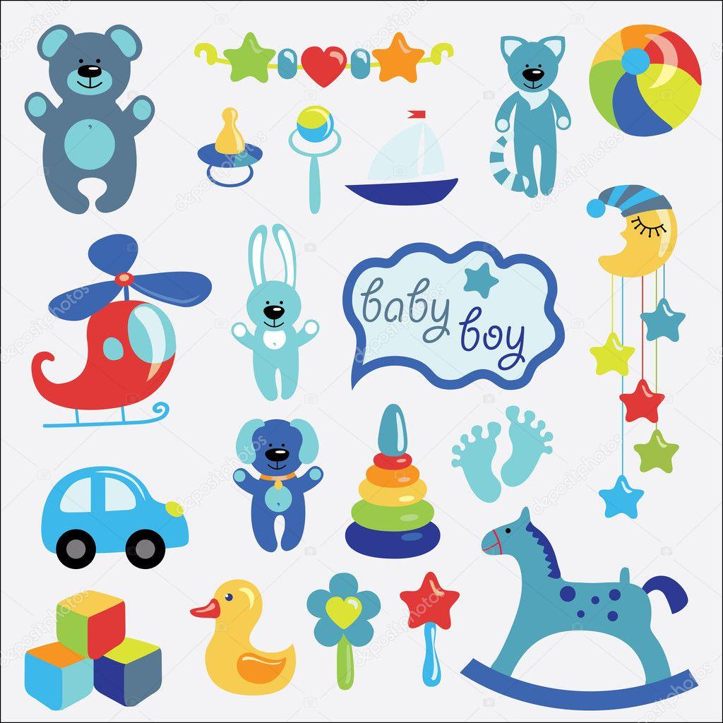 jouets b b collection pour petit gar on de jeu image vectorielle 43584977. Black Bedroom Furniture Sets. Home Design Ideas