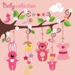 Newborn elements for Baby girl hanging on the tree — Stock Vector