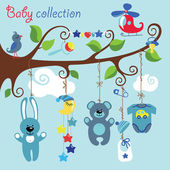 Newborn elements for Baby boy hanging on the tree — Stock Vector