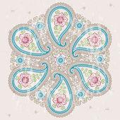 Paisley fabric round ornamental frame.Oriental motif — Stock Vector