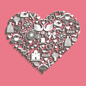 Wedding Design.Icons for Web and Mobile in hearts composition — Stock Photo