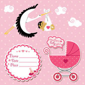 Baby shower card,invitation,scrapbook with stork and Asian girl — Stock Vector