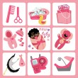 Cute cartoons icons for mulatto baby girl.Newborn set — Stock Vector #44594565