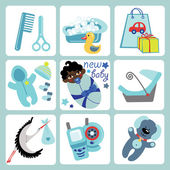 Cute cartoons icons for mulatto baby boy.Newborn set — Stock Vector