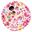 Toys icons for baby girl in circle — Stock Vector #44784119