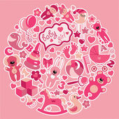 Toys icons for baby girl in circle.Pink colors — Stock Vector
