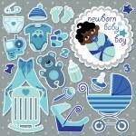 Cute items for mulatto newborn baby boy — Stock Vector #44836025
