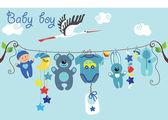 Cute cartoon baby set. Baby boy items — Stock Vector