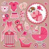 Cute items for European baby girl.Strips background — Stock Vector