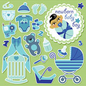 Cute items for Asian baby boy.Strips background — Stock Vector