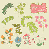 Flowers and plants Doodle.Child's hand drawing.Vintage — Stock Vector