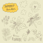 Summer Doodle set.Children's hand drawing — Stock Vector