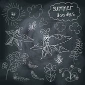 Summer Doodle on chalkboard background — Stock Vector
