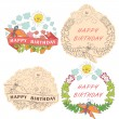 Vintage Stylish floral label with butterflies,bees,sun.Happy bir — Stock Vector #45561213