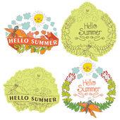 Etiqueta floral con estilo vintage con suma butterflies,bees,sun.helow — Vector de stock
