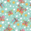 Stylish fun seamless pattern with butterflies,sun, clouds Doodle — Stock Photo #45732201