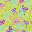 Stylish floral seamless pattern with Doodles butterflies — Stock Photo #45732203