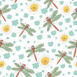 Stylish fun seamless pattern with dragonfly,sun, clouds Doodles — Stock Photo #45732217
