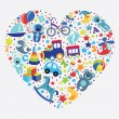 Toys icons for baby boy in form of Heart — Stock Photo