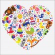 Baby toys icons in heart.Set collection — Stockfoto