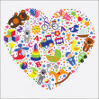 Baby toys icons in heart.Set collection — 图库照片