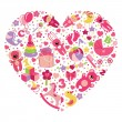 Toys icons for baby girl in Heart — Stock Photo