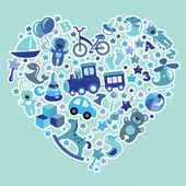 Toys icons for baby boy in  Heart,Blue colors — Stock Photo