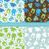 Clothes for newborn baby boy seamless pattern set — Stock Photo