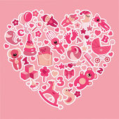 Toys icons for baby girl in Heart.Pink colors — Stock Photo