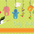 Newborn baby clothes hanging on the rope.Baby fashion set — Stock Photo #45920099