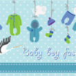 Newborn baby-boy clothes hanging on the rope.Baby fashion — Stock Photo