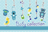 Newborn baby items hanging on rope.Baby boy collection — Stock Photo
