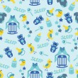 Baby boyl cute seamless pattern. Sleep newborn items collection — Stock Photo #45942005