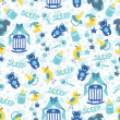 Baby boyl cute seamless pattern. Sleep newborn items collection — 图库照片