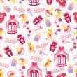 Baby girl cute seamless pattern. Sleep newborn items collection — Stock Photo #45942025