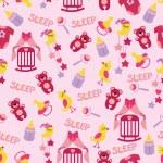 Baby girl cute seamless pattern. Sleep newborn items collection — Stock Photo #45942035
