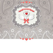 Cute design template.Paisley border lace and cartoon  swans — Stock Photo