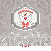 Cute design template.Paisley border lace and cartoon pigeons — Stock Photo