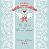Encaje de novia linda invitation.paisley frontera, dibujos animados swans.vintag — Foto de Stock