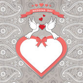 Cute  template.Paisley border lace, hearts label,cartoon pigeons — Stock Photo